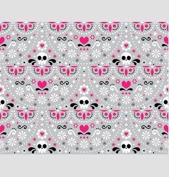 Mexican folk art seamless pattern - skull vector