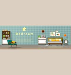 mid century modern bedroom background vector image