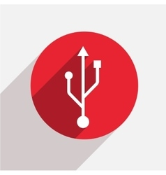 Modern usb red circle icon vector