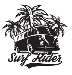 Monochrome on theme of surfing vector