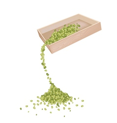 Mung Beans Dropped from A Wooden Container vector