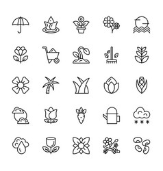 nature and ecology line icons 3 vector image