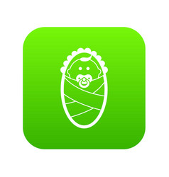 newborn icon digital green vector image