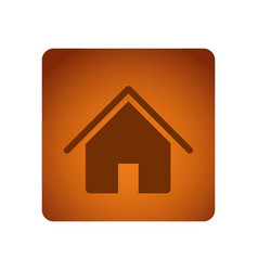 Orange emblem house icon vector