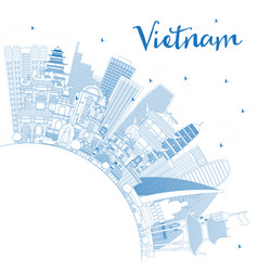 outline vietnam city skyline with blue buildings vector image