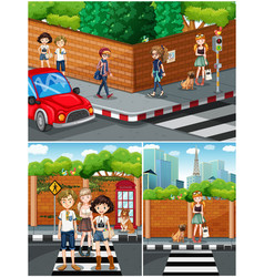 People hanging out on the street vector