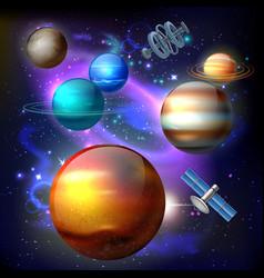 planet galaxy realistic composition vector image