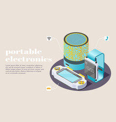 Portable electronics isometric poster vector