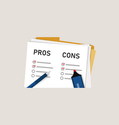 Pros cons concept on decision making process vector