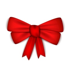 Realistic red ribbon bow vector