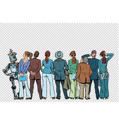 Retro group businessmen and businesswomen vector