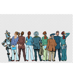 Retro group of businessmen and businesswomen with vector