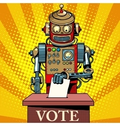 Robot voter vote on election day vector