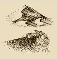 Sand dunes sketch vector