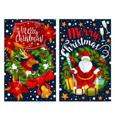 santa and reindeer greeting card with wreath frame vector image