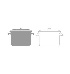 saucepan grey set icon vector image