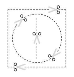 Scissors with cut lines vector
