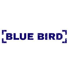 Scratched textured blue bird stamp seal between vector