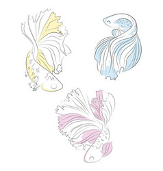 set aquarium fish collection sea fishes vector image