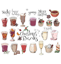 Set of different christmas and winter drinks vector
