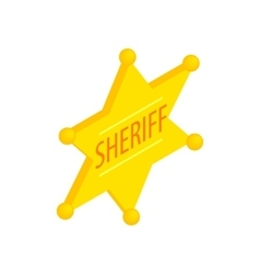 Sheriff star isometric 3d icon vector