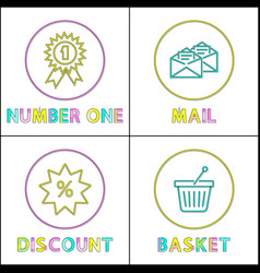 shopping icon set for online store in linear style vector image
