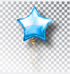 Star blue balloon on transparent background party vector