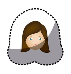 Sticker colorful cartoon human female sad face vector
