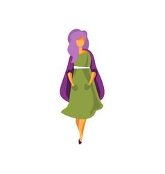 stylish girl wearing green dress elegant vector image