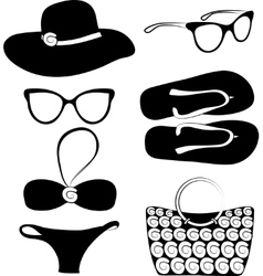 summer beach accessories set vector image