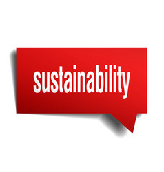 Sustainability red 3d speech bubble vector