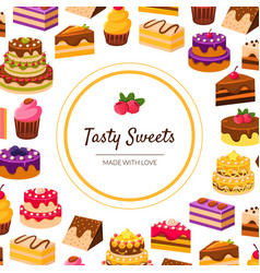 tasty sweets banner template with desserts pattern vector image