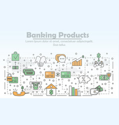 thin line banking products poster banner vector image