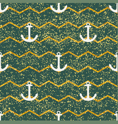 tile sailor pattern with green and gold stripes vector image