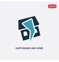 Two color earthquake and home icon from vector