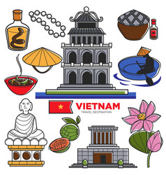 Vietnam travel tourism famous symbols and asian vector