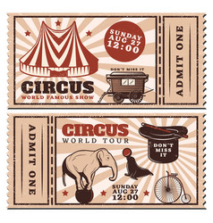 vintage circus show advertising horizontal tickets vector image