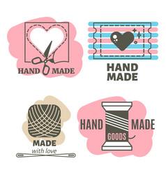 Vintage hipster handmade handiwork badges labels vector