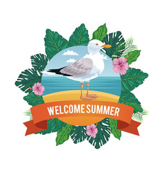 welcome summer in flowers frame with beach vector image