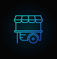 Wheel market stall blue icon mobile cart vector
