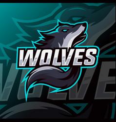 wolves mascot logo esport vector image