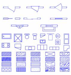 architecture blueprint symbols vector image