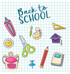 back to school doodle clip art greeting card vector image vector image
