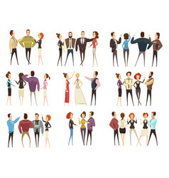 business teams cartoon style set vector image