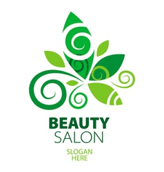 Composition of green leaf logo for beauty salon vector