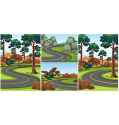 Different scenes with roads in the park vector