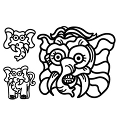 elephant hand write emblem logo vector image vector image