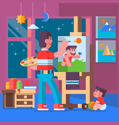 father painting pictures with their children vector image vector image