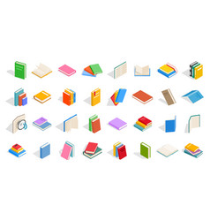 school books icon set isometric style vector image