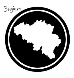 white map of belgium on black circle vector image vector image
